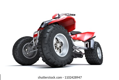 Massive concept. Powerful red ATV quadbike isolated on white background. Perspective. Bottom view. 3D render.