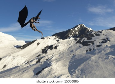A massive dragon hovers over his mountain home.