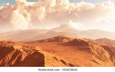 Massive dust storm sweeping across surface of Mars. 3D illustration