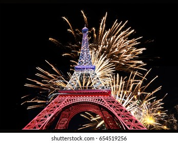 Massive fireworks display and the Eiffel Tower. 3D Illustration
