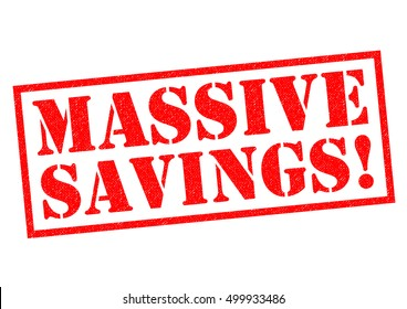 MASSIVE SAVINGS! red Rubber Stamp over a white background.