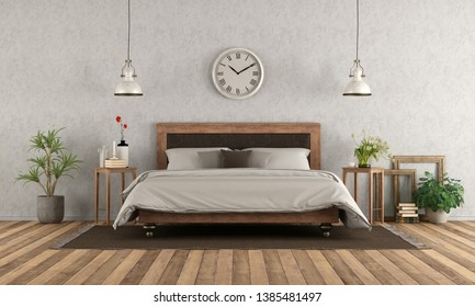 Master bedroom in classic style with elegant double bed on hardwood floor - 3d rendering