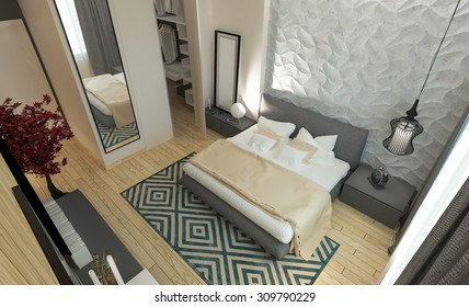 Master bedroom with dressing room 3D panels in a modern style. 3D illustration