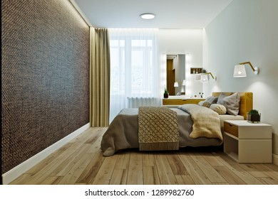 Master bedroom with dressing room in a modern style. 3D rendering