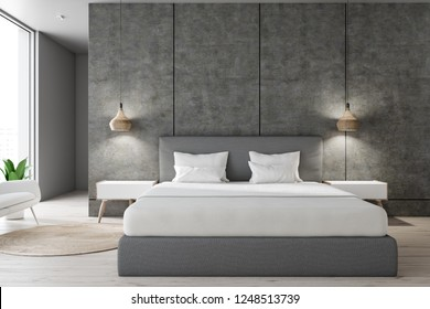 Master bedroom interior with concrete walls, wooden floor, gray master bed with white covers and two white bedside tables. 3d rendering