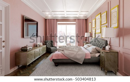 Master Bedroom Modern Design Pink Brown Stock Illustration 503404813 3d