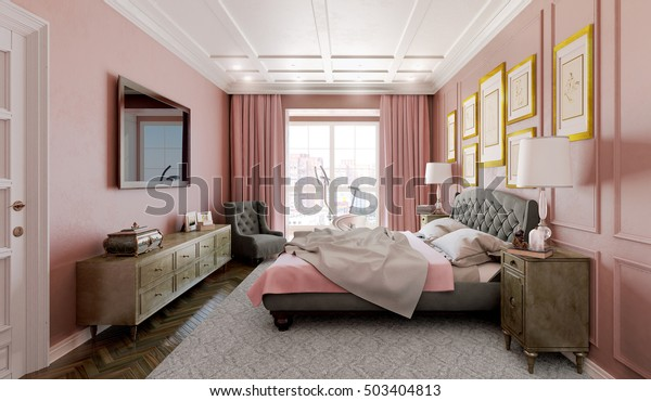 Master Bedroom Modern Design Pink Brown Stock Illustration 503404813