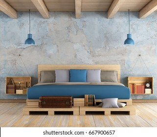 Master bedroom with pallet double bed ,old wall and wooden ceiling - 3d rendering