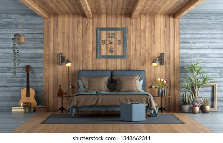 Master bedroom in rustic style with blue double bedroom against wooden paneling 3d rendering
