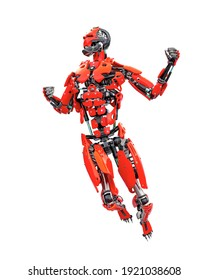 master cyber robot is doing a comic pose, 3d illustration