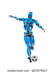 master cyber robot is kicking the football ball, 3d illustration