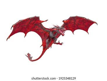 master dragon in white background, 3d illustration