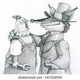 master fox worker hen metaphor of power that manages to destroy the workers rights with cunning humorous political humorous draw