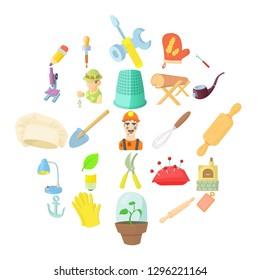 Master icons set. Cartoon set of 25 master icons for web isolated on white background