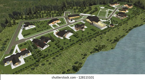 Master plan of new city. Panorama of the village. 3d model render.