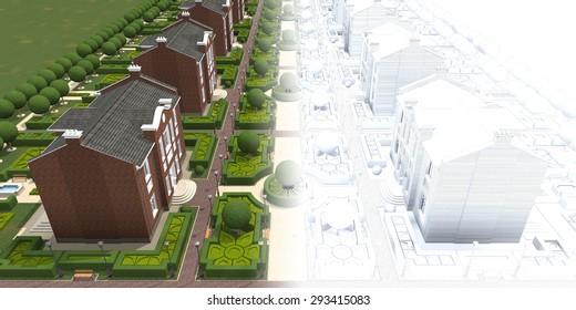 Master plan of the village. 3d model render.