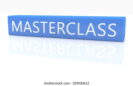 Masterclass - 3d render blue box with text on it on white background with reflection
