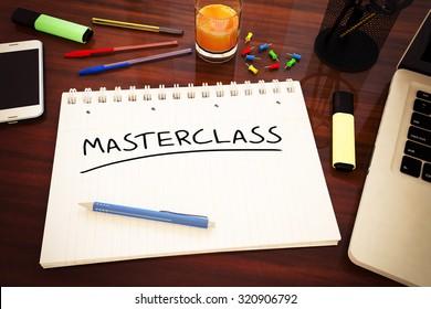 Masterclass - handwritten text in a notebook on a desk - 3d render illustration.