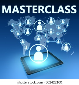 Masterclass illustration with tablet computer on blue background