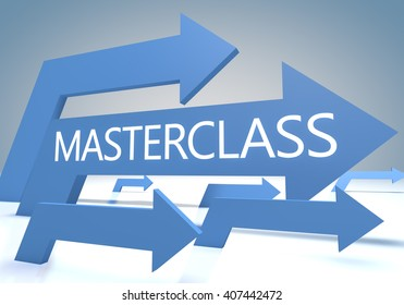 Masterclass render concept with blue arrows on a bluegrey background.