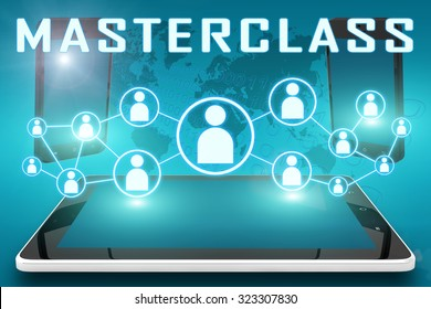 Masterclass - text illustration with social icons and tablet computer and mobile cellphones on cyan digital world map background.