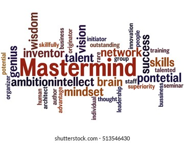 Mastermind, word cloud concept on white background.