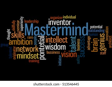 Mastermind, word cloud concept on black background.