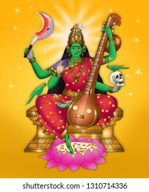 Matangi is one of the Mahavidyas, ten Tantric goddesses and a ferocious aspect of Devi, Hindu Divine Mother. She is considered to be the Tantric form of Sarasvati, the goddess of music and learning.