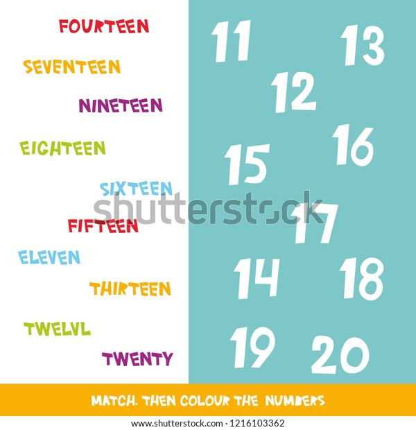 Match Colour Numbers 11 20 Kids Stock Illustration 1216103362