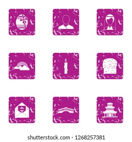 Matchmaker icons set. Grunge set of 9 matchmaker icons for web isolated on white background