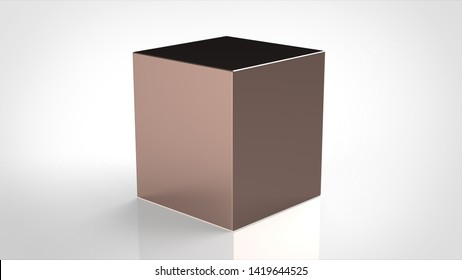 material cube copper polished 3d rendering