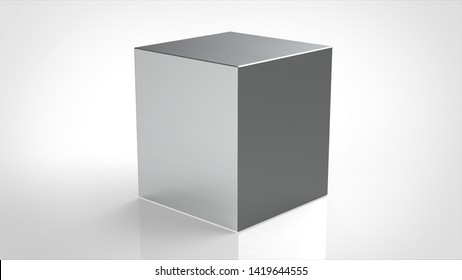 material cube hairline metal 3d rendering