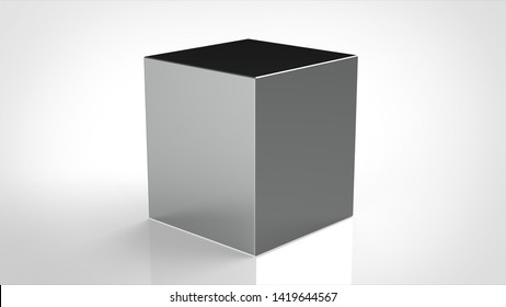 material cube polished metal 3d rendering