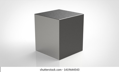material cube textured silver 3d rendering