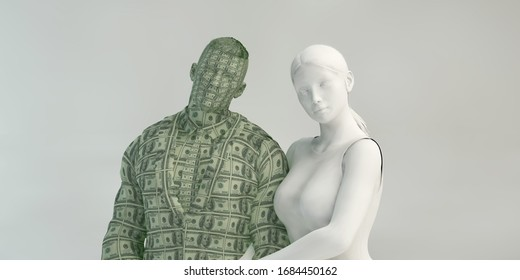 Materialistic Woman and Gold Digger Lady Concept 3D Render