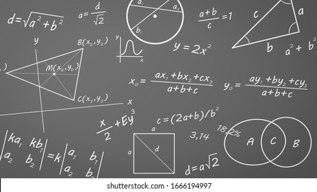 Math Chalk Text, Formulas, Graphs and Related Symbols on Chalkboard Illustration