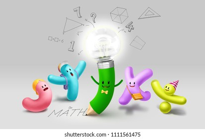 Math character and light bulb