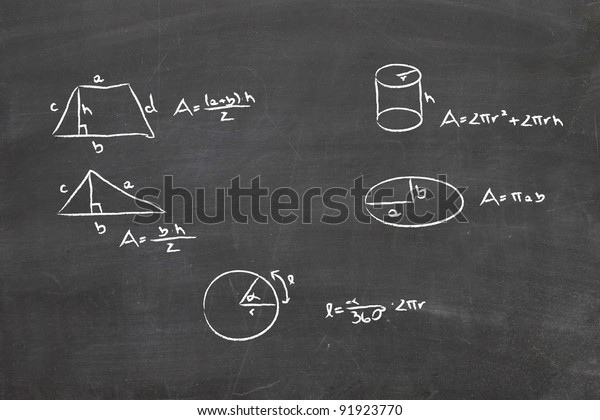 Math problem on whiteboard on chalkboard