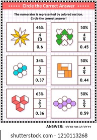 Math skills and IQ training visual puzzle or worksheet for schoolchildren and adults. Circle the correct answer. Find the number equivalent for each pictorial fraction representation. Answer included.