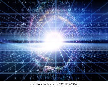 Math Universe series. Composition of digits and elements of space on the subject of mathematics, science, education and modern technology