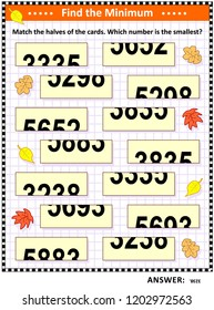 Math visual puzzle: Find the minimum. Match the halves of the cards. Which number is the smallest? Answer included.