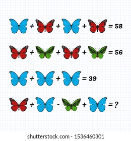 Mathematical Addition Subtraction Puzzle. System of equations. Math game with pictures for children, middle level, education game for kids, preschool worksheet activity, logical thinking. Butterflies.