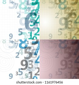 Mathematical digital code background, abstract color illustration of numbers