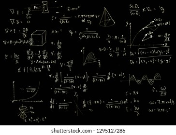 Mathematical equations on a blackboard,black color