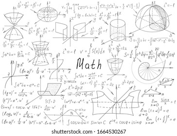 Mathematical formulas drawn by hand on a white chalkboard for the background