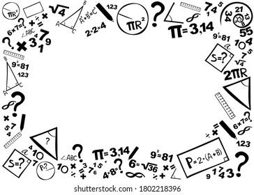 Mathematics. Horizontal banner. Presentation, website. Isolated lettering typography idea with icons. Algebra, geometry, statistics, basic maths. School background. School maths concept. illustration