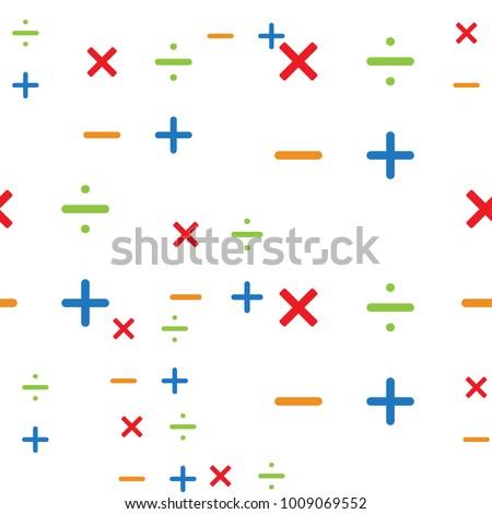 Mathematics Pattern Background Different Math Symbols Stock