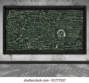 maths and science formula on chalkboard in classroom