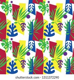 Matisse inspired seamless pattern, colorful design, vector illustration