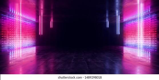 Matrix Disco Futuristic Dark Sci Fi Neon Lights Purple Blue Futuristic Glowing Concrete Grunge Empty Corridor Tunnel Underground Room Stage Virtual Cyber Laser Beam 3D Rendering Illustration